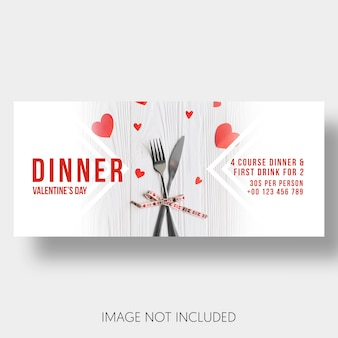 Banner template restaurant couple valentine's day