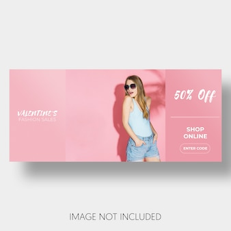 Banner template sales valentine's day