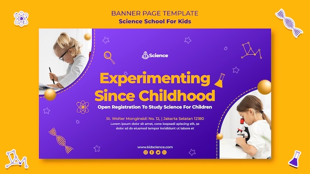 Banner template for science school for children