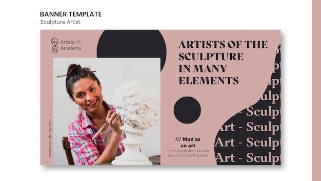 Modello di banner per laboratorio di scultura