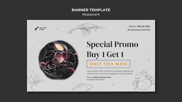 Banner template for seafood restaurant with mussels and noodles