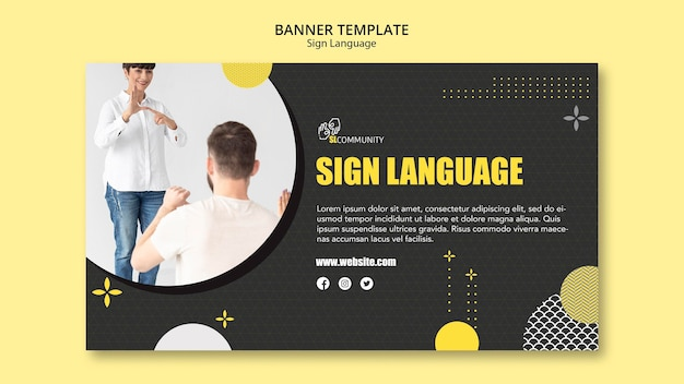 Banner template for sign language communication