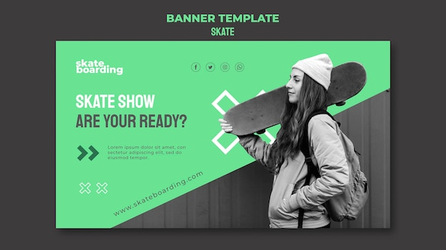 Banner template for skateboarding with female skateboarder