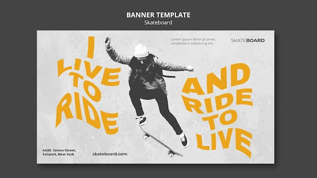 Banner template for skateboarding with woman