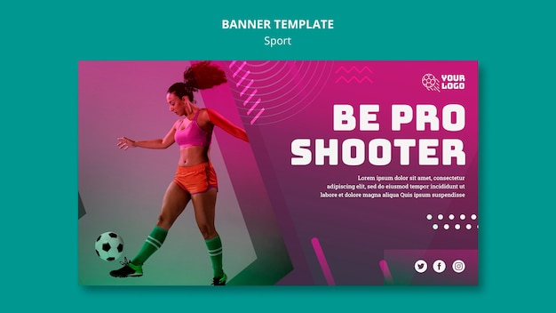 Banner template soccer training ad