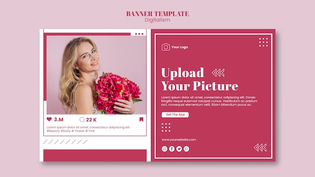 Banner template for social media photo uploading