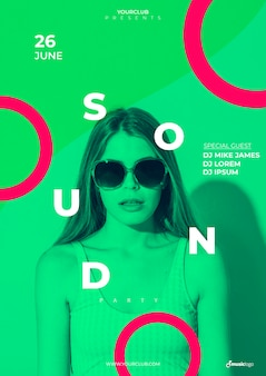 Banner template for sound festival