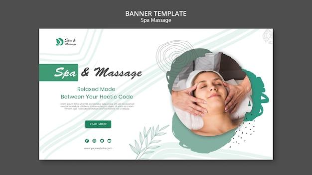 Modello di banner per massaggio termale con donna