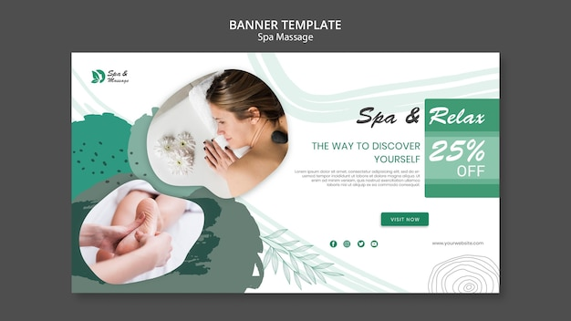 Banner template for spa massage with woman