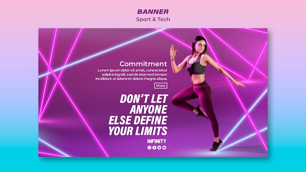 Banner template for sports and exercise
