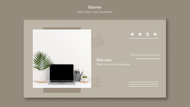 Banner template for starting own business