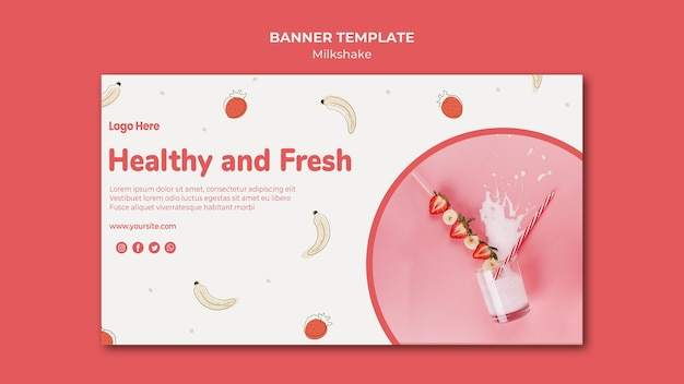 Banner template for strawberry milkshake