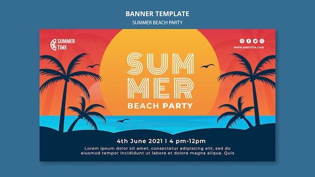 Modello di banner per la festa in spiaggia estiva