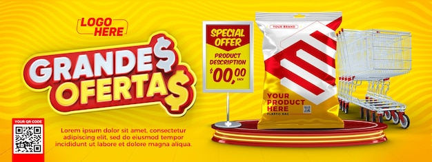 Banner template supermarket great offers in brazil