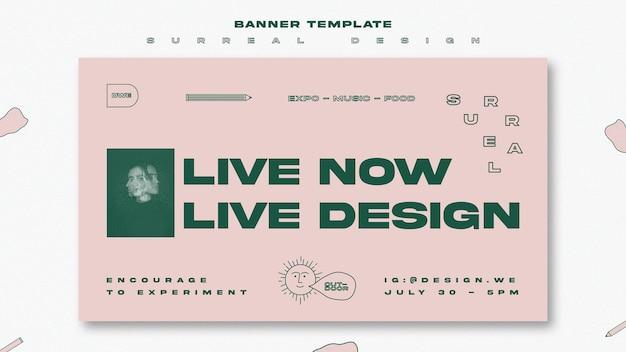 Шаблон баннера сюрреалистический дизайн событие