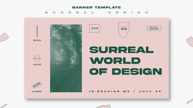 Banner template surreal design Free Psd