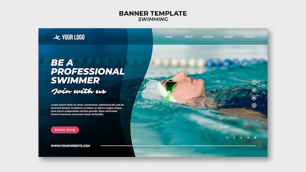 Banner template for swimming lessons with woman in the pool