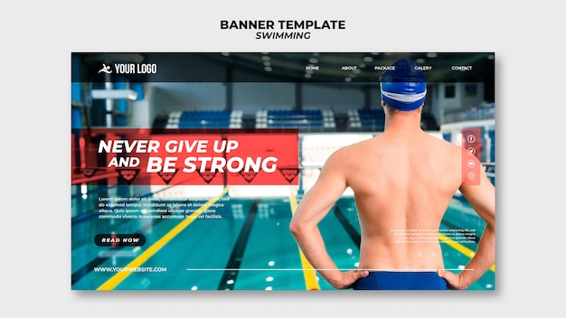 Banner template for swimming lessons