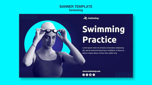 Banner template for swimming with female swimmer