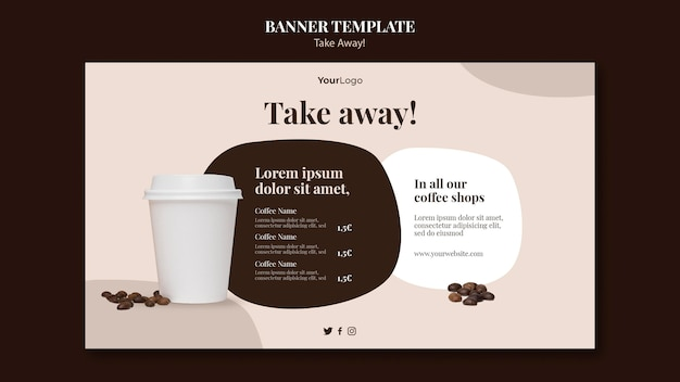 Banner template for takeaway coffee