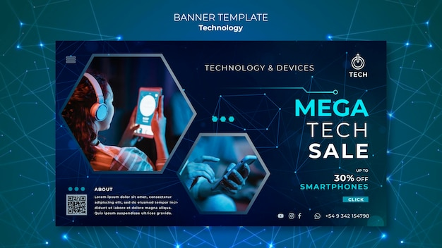 Banner template for techno store