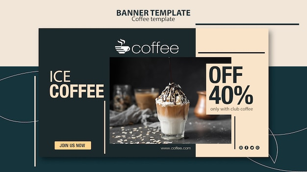 Banner template theme with coffee