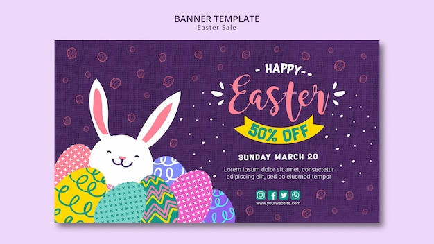 Banner template theme with easter sales