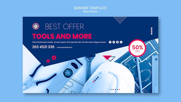 Banner template theme with mechanic