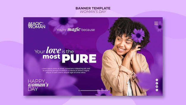 Banner template theme for womans day event
