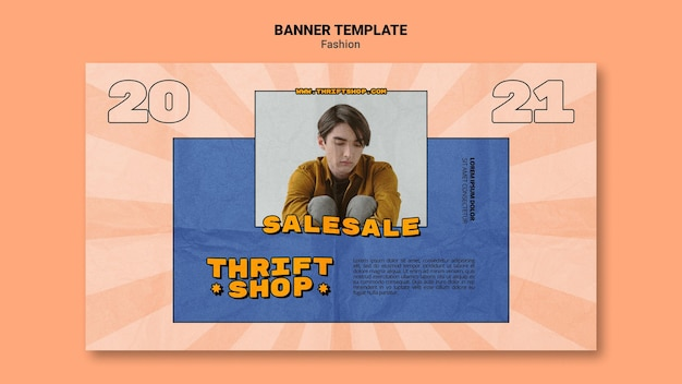Banner template for thrift shop fashion sale