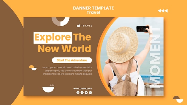 Modello di banner per viaggiare con la donna