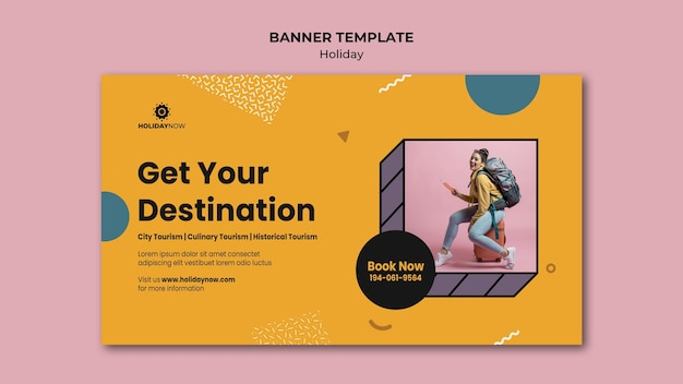 Banner template for vacations with female backpacker