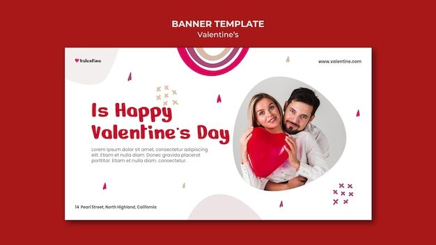 Banner template for valentine's day with couple