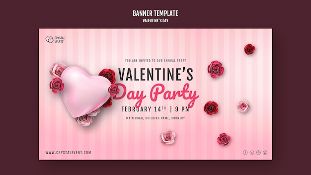 Banner template for valentine's day with heart and red roses