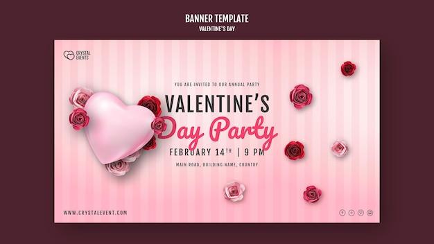 Modello di banner per san valentino con cuore e rose rosse