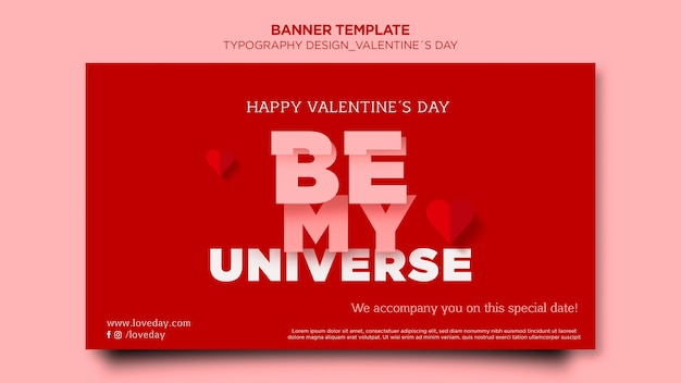 Banner template for valentine's day with hearts
