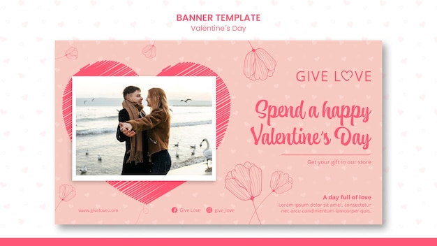Banner template for valentine's day with photo of couple
