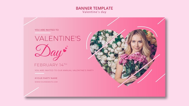 Banner template for valentines day