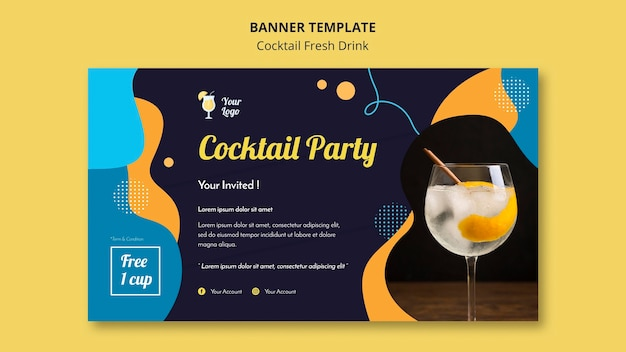 Banner template for variety of cocktails