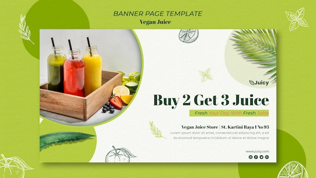 Banner template for vegan juice delivery company
