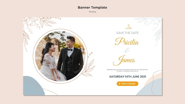 Banner template for wedding ceremony with bride and groom