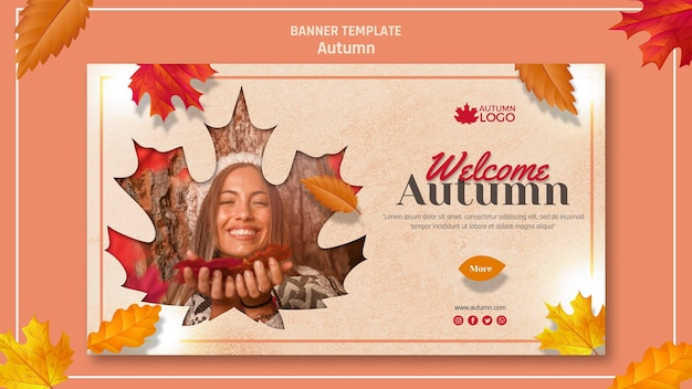 Banner template for welcoming autumn season