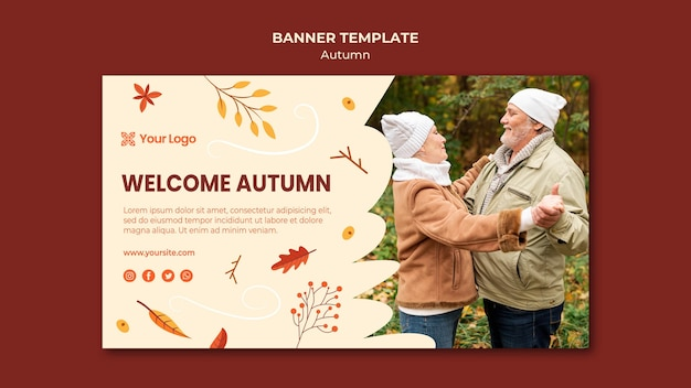 Banner template for welcoming the autumnal season