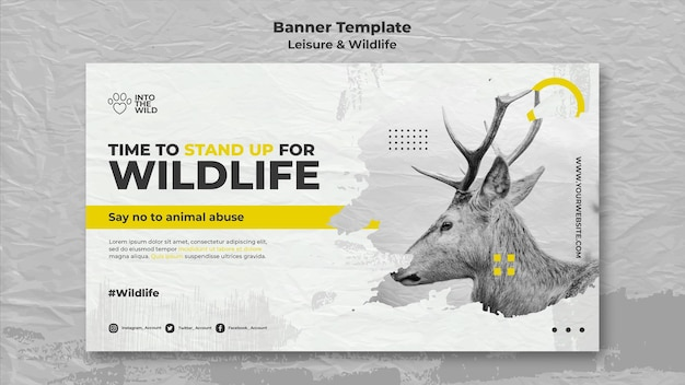 Banner template for wildlife and environment protection