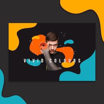 Шаблон баннера с абстрактными яркими цветами Бесплатные Psd