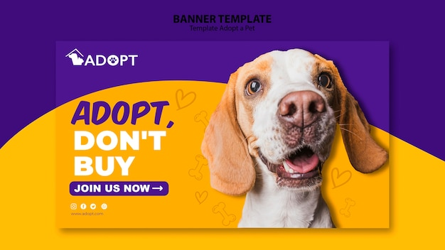 Banner template with adopt pet design