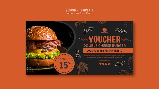 Banner template with american food concept