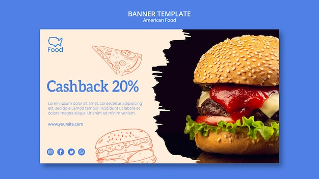 Banner template with american food