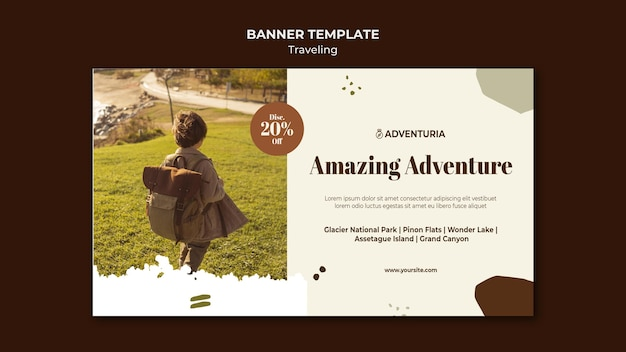 Banner template with backpacking traveling child