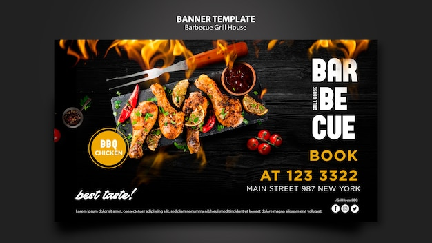 Banner template with barbeque concept